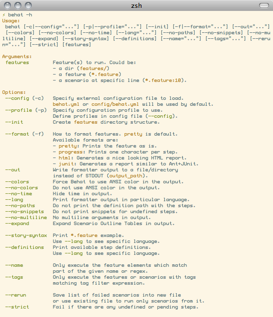 Command Line Tool Behat Behat 253 Documentation